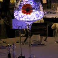 Stemmed brandy balloon with acrylic ice, led light and floral spray.jpg.jpg