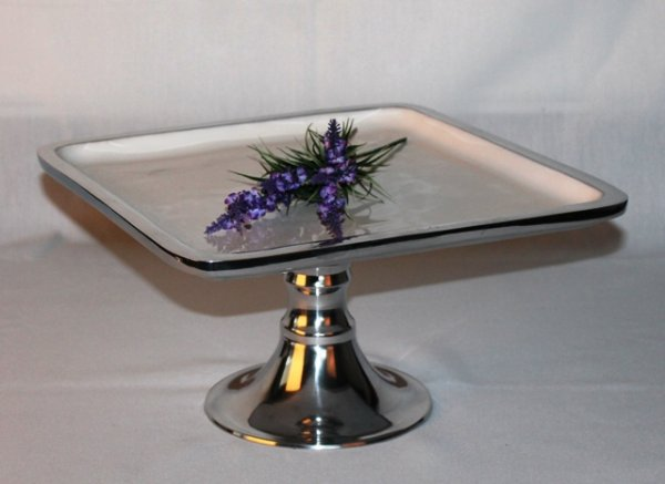 Cake stand, silver & white