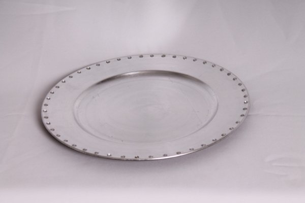Charger plate, silver diamante
