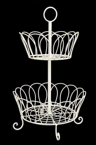 Basket Wrought Iron Two Tier cream