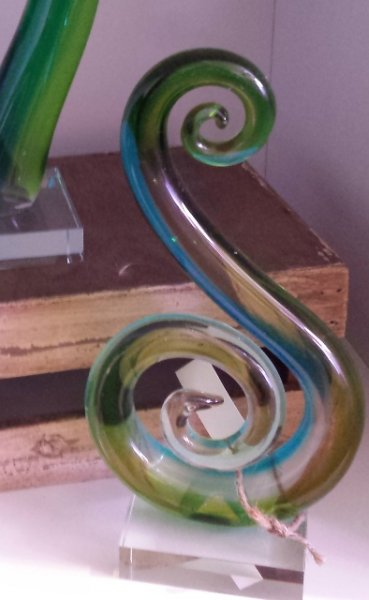 Figure 8, blue green glass