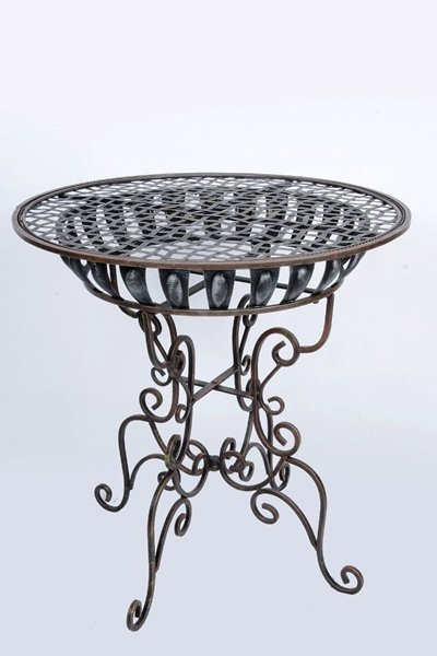 Registry table, brown wrought iron