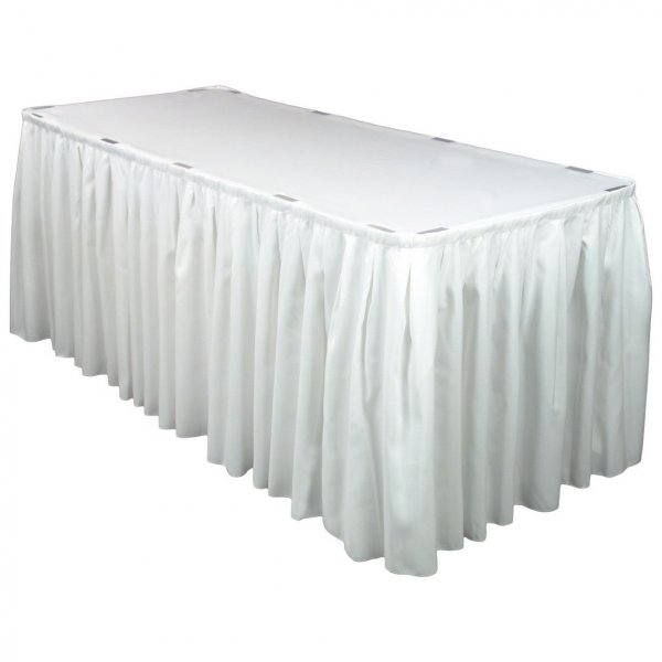 Table skirting, scalloped (white w/pleat) 6mL