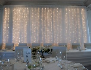 Fabric swagging - fairy light curtain