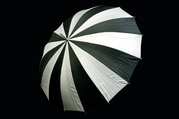 Umbrella - black & silver stripped