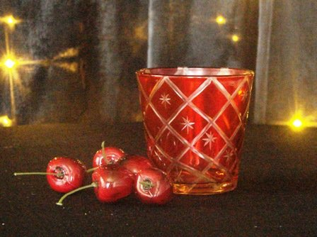 Tea light holder, etched - red