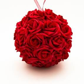 Rose ball, silk red