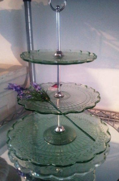 Cake stand, green glass 3 tier