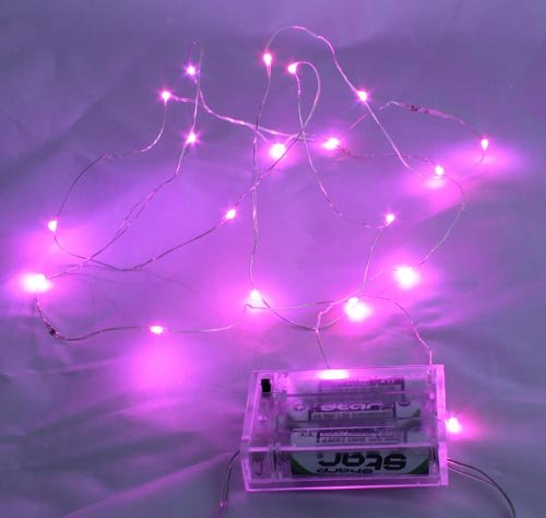 Fairy light string, battery - pink 1m