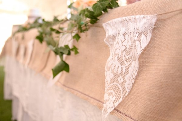 Bunting - trio - hessian/white/lace