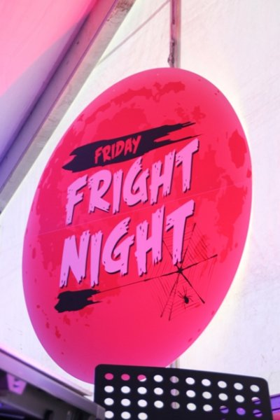 Friday fright night sign, round