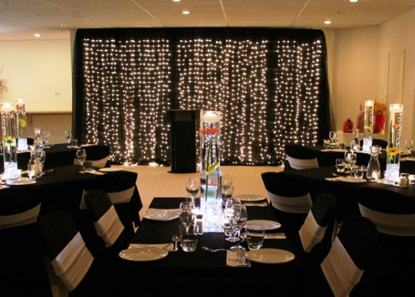 Fairy light curtain package - black fabrics