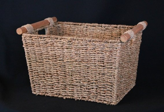 Basket, seagrass dark - small square