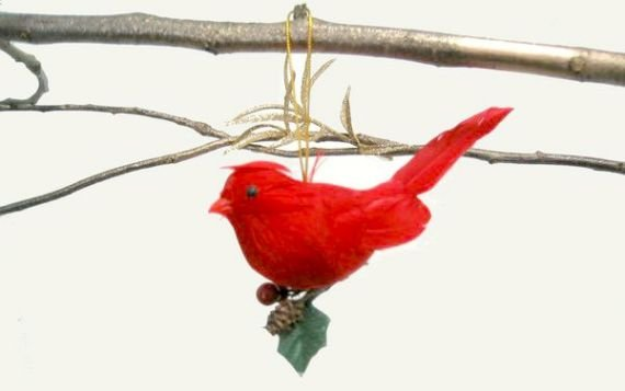 Christmas decoration, red chicadee bird w/ holly (