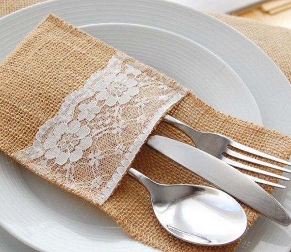 Cutlery pocket, hessian/lace