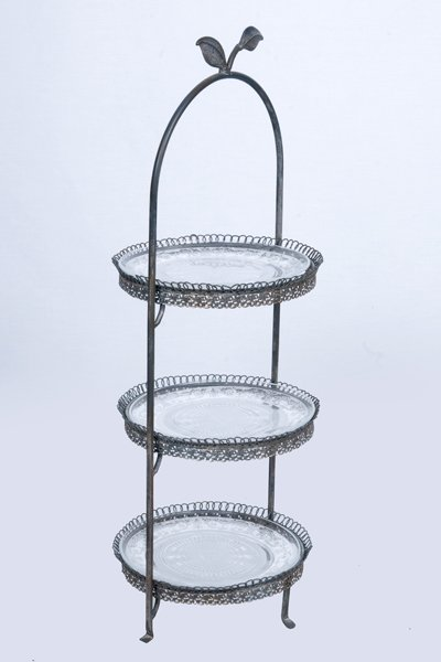 Cake stand, antique glass 3 tier