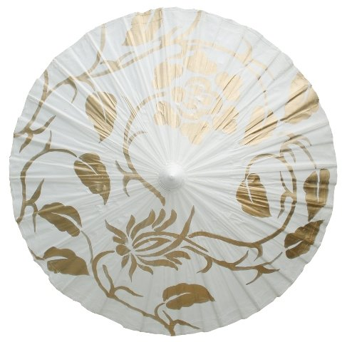 Parasol, gold & white leaf