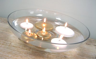 Floating candle disk - silver SALE